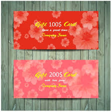 gift card formats gift card design on red flowers background vectors stock in