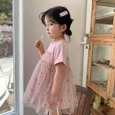 Mùa Hè Năm 2021 Mới Xuất Hiện Thời Trang Bé Gái Chấm Đầm Trẻ Em Hàn Quốc  Thiết Kế Váy Đầm Bé Gái|Dresses