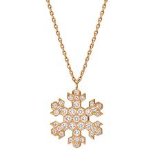 18k gold diamond snowflake pendant