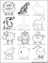 Chinese Zodiac Coloring Sheet