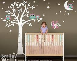 owls wall decal owls tree moon and stars wall decal for nursery baby room