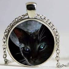fashion black cat moon pendant necklace vintage women statement chain necklaces in jewelry classic glass cabochon necklace necklace fashion jewelry