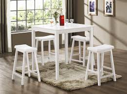 white counter height table. 5 Piece Counter Height Dining/Pub Set In White Finish By Coaster - 150294N Table W