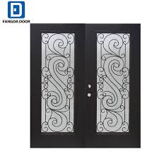 full lite decorative glass painted fiberglass prehung double entry door