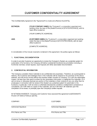 confidentiality agreement template customer confidentiality agreement template sample form