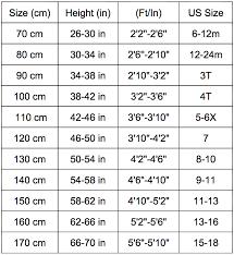 150 Cm Size Chart Sizing Chart