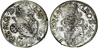 Bohemia/Silesia. Duke of Teschen. Adam Wenzel (1579-1617). AR Groschen (3  Kreuzer) 1610. Scarce VF.