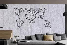 metal wall art geometric world map