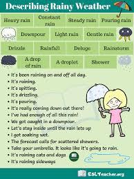 Rainy Weather Useful Words And Phrases To Describe Rainy