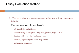 performance appraisal concepts and method essay evaluation  this method