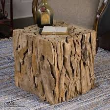 Charming Natural Teak Root Wood Bunching Cube Driftwood Side End Accent Table Or Seat Good Looking