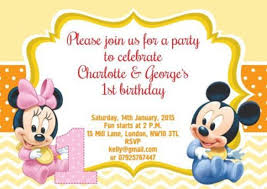 baby mickey mouse invitations birthday 30 first birthday invitations free psd vector eps ai format