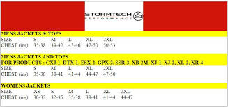 Xb Size Chart Stormtech Size Chart