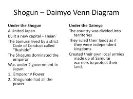 Samurai Vs Knight Venn Diagram Shogun Daimyo Venn Diagram Ppt Download