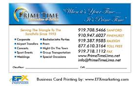Limo Business Cards Limousine Printing