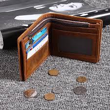 men s genuine leather bifold wallet vintage coin purse short credit card holder