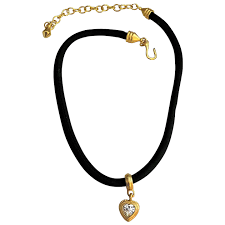 ee goldtone and crystal heart pendant on black satin soft cord toby the golden hero jewelry ruby lane
