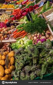stall display of a farmers market stock photo