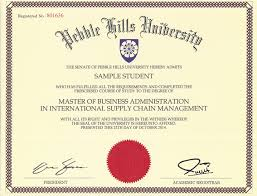 university degree certificate sample sample phu degree and cufce report pebble hills university a