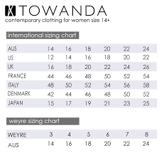 Plus Size Clothing Size Chart Sizing Chart Towanda Womenswear Plus Size Designer Fashion