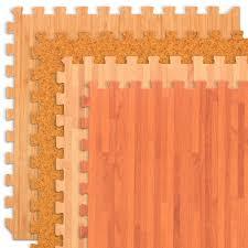 com forest floor 24 sq ft foam printed cherry wood grain interlocking anti fatigue flooring mats 4 2 x2 tiles sports outdoors