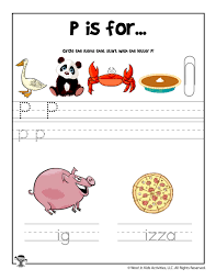 Children can trace each letter of the alphabet, identify beginning sounds by matching pictures with the letters they start with, complete a simple cut and paste phonics activity, and separate similar letters by matching the uppercase and lowercase form of each letter. Letter P Phonics Recognition Worksheet Woo Jr Kids Activities