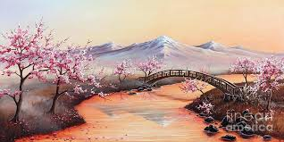 cherry blossom painting cherry blossoms in the mist revisited painting by japanese cherry blossom watercolor painting