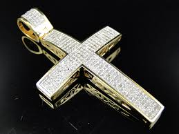 large genuine diamond cross pendant charm 1 25 ct in 10k yellow gold finish