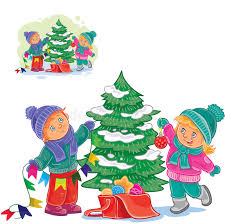 Decorating Christmas Tree With Balls Vector Little Boy And Girl Decorating A Christmas Tree With Balls 82