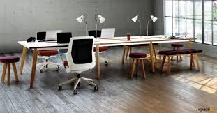 White gray solid wood office Furniture White Desk With Solid Wood Legs The Container Store Oak And Walnut Office Desks Wood Veneer Desks Spaceist Office