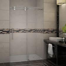 aston langham 48 in x 75 in completely frameless sliding shower door in stainless