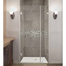 frameless hinged shower door in chrome with