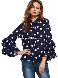 Dotted Tops Designs Womens Polka Dot Layered Ruffle Bell Sleeve Sheer Shirt Blouse Tops Casual Korean Style Flare Chiffon Blouses Buy Shirt Blouse Pattern Chiffon