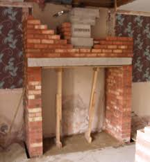 Building A Fireplace Interior Design Worker Is Building Fireplace Chimney With Closed