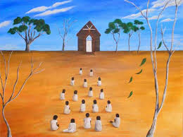 stolen generations stories creative spirits a group of aboriginal children dressed in white sits in front of a church