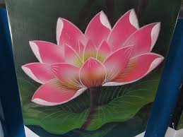 6 pcs whole lotus flower balinese oil painting on canvas shipfrom us canada