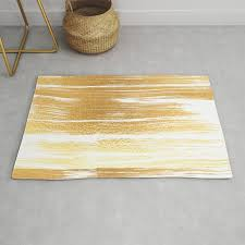 abstract faux gold white modern paint brushstrokes rug
