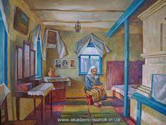 Жизнь в Галушковке Холст масло краски дипломная работа  Украинская хата Холст масло краски семестровая работа студентки ДНУ Обучение композиции в