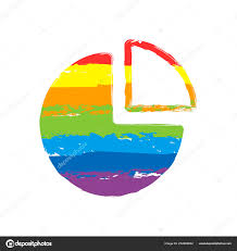 Rainbow Pie Chart Business Pie Chart Icon Drawing Sign Lgbt Style Seven Colors