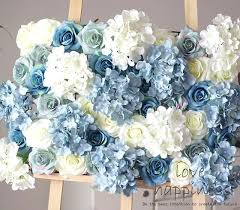 flower wall decor lot artificial silk rose with hydrangea flower wall white blue flower wall decoration