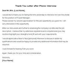 Thank You Letter Following Interview Follow Up Email After Interview No Response Sample Phone Job