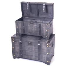 large wooden storage chest. Vintiquewise Distressed Black Large Wooden Storage Trunk Coffee Table Set Of For Chest