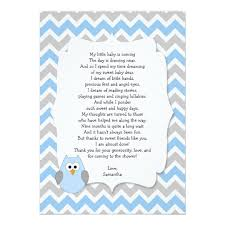 Blue Owl Baby Shower Thank You Notes With Poem Card  ZazzlecomOwl Baby Shower Thank You Cards