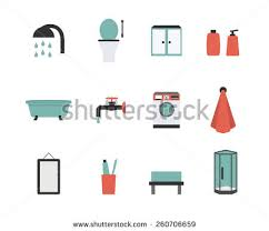 cartoon bathroom sink and mirror. Vector Set Of Bathroom Icons In Flat Style Including Toilet, Shower, Bath, Sink Cartoon And Mirror S