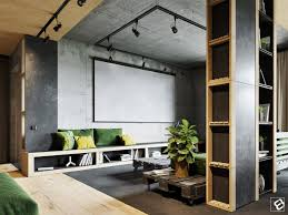 Create a dark and dreamy industrial home decor mood. This high-ceilinged  space reverses roles as polished wood lines the ceiling, rough concrete the  floor.