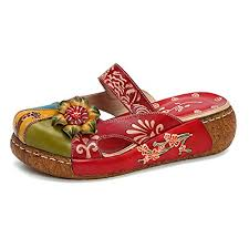 Leather Slipper Gracosy Womens Leather Oxford Slipper Vintage Slip Ons Colorful Flower Backless Loafer Shoes Red 38 Eu