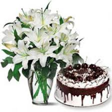 white lilies with vanila cake gift hyderabad india