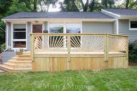 sunburst deck railing add pizzazz to an ordinary deck