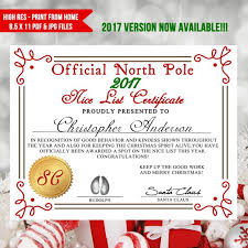 Printable Christmas Certificates Stunning Printable Nice List Certificate Santa Letter Nice List Etsy
