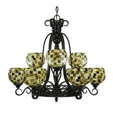 9 light dark granite chandelier with sea mist seashell glass shade